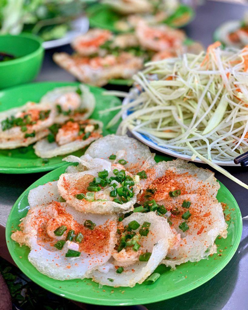 banh khot or crispy savory mini Vietnamese pancakes