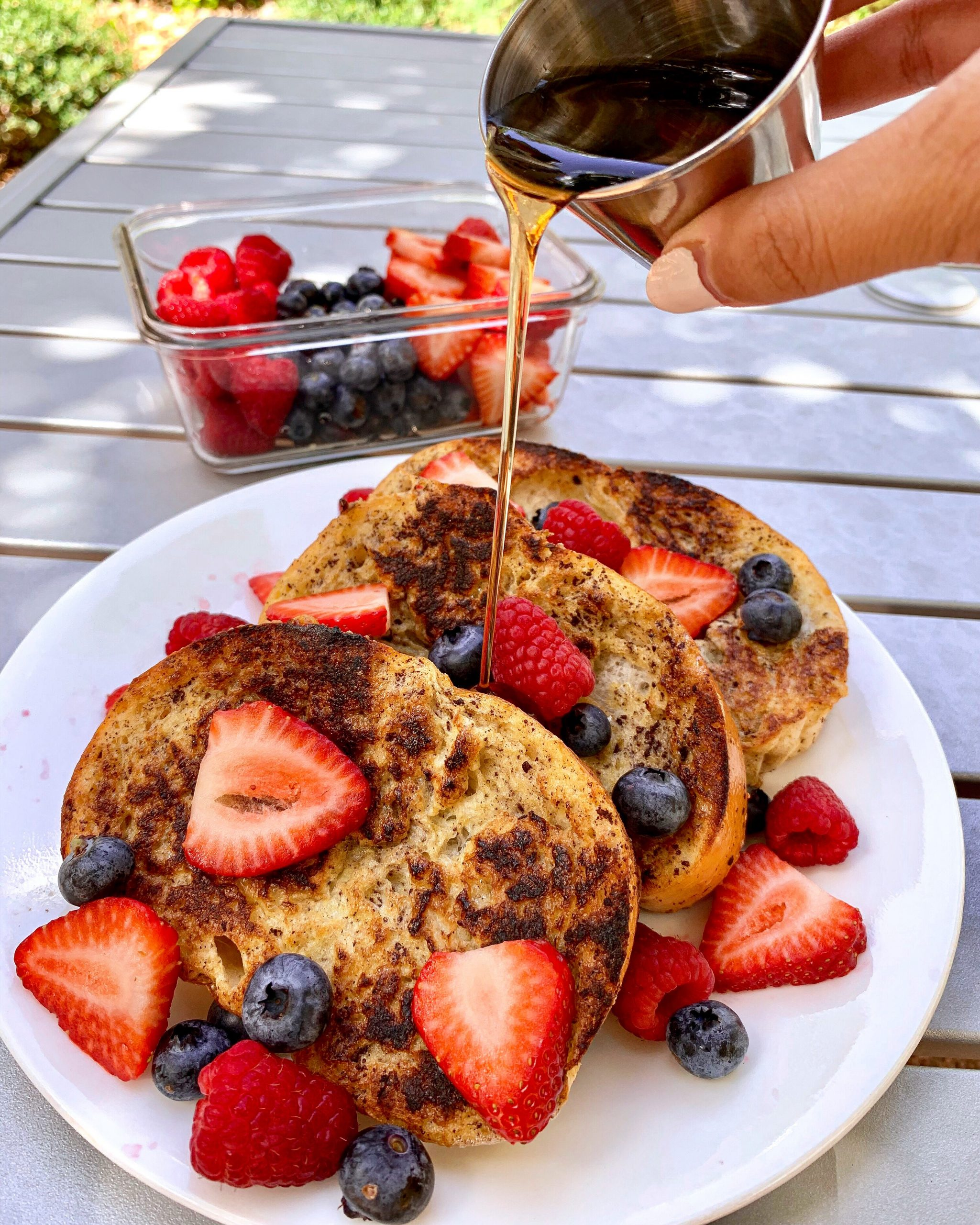 berry french toast with maple syrup