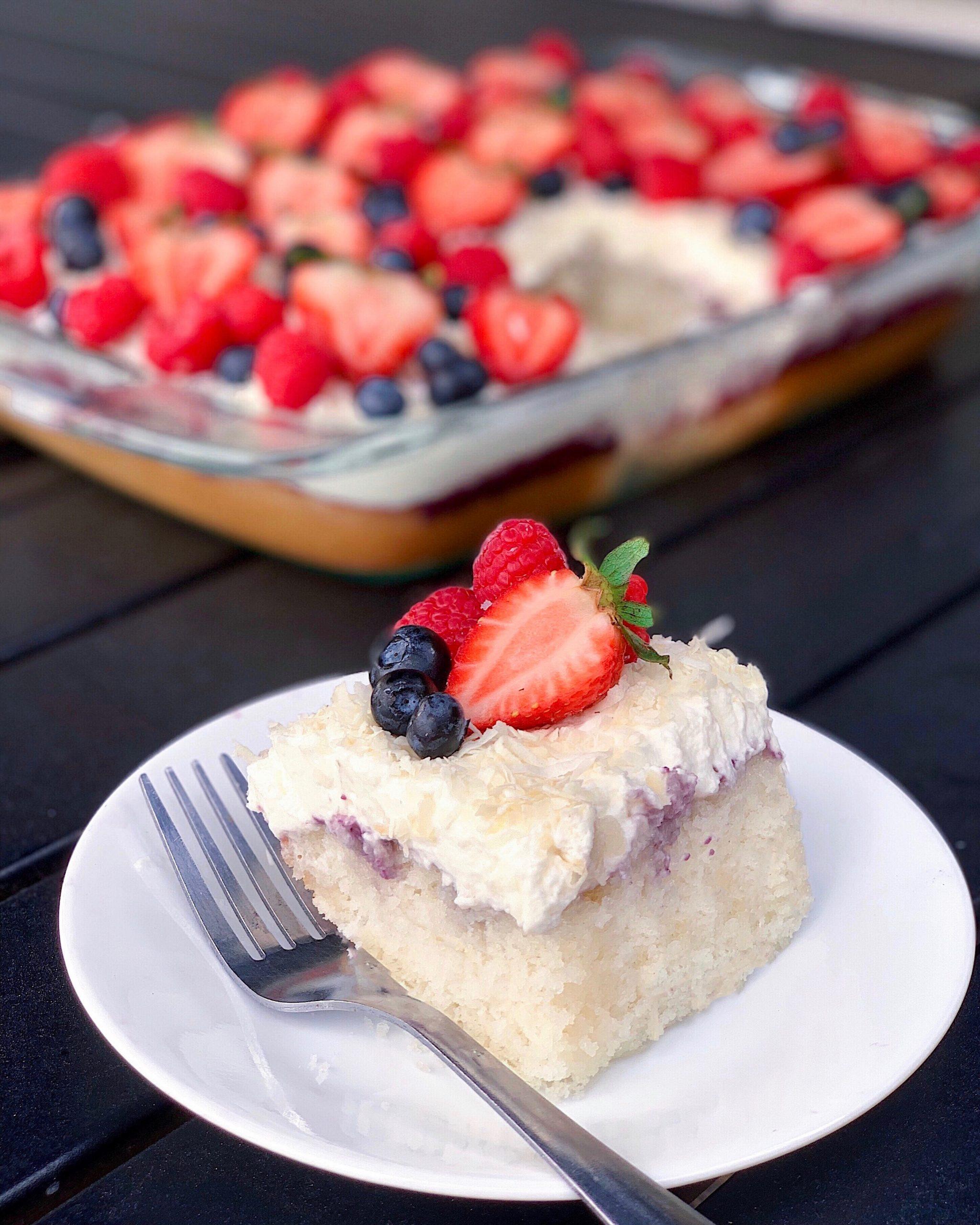 berry coconut poke cake