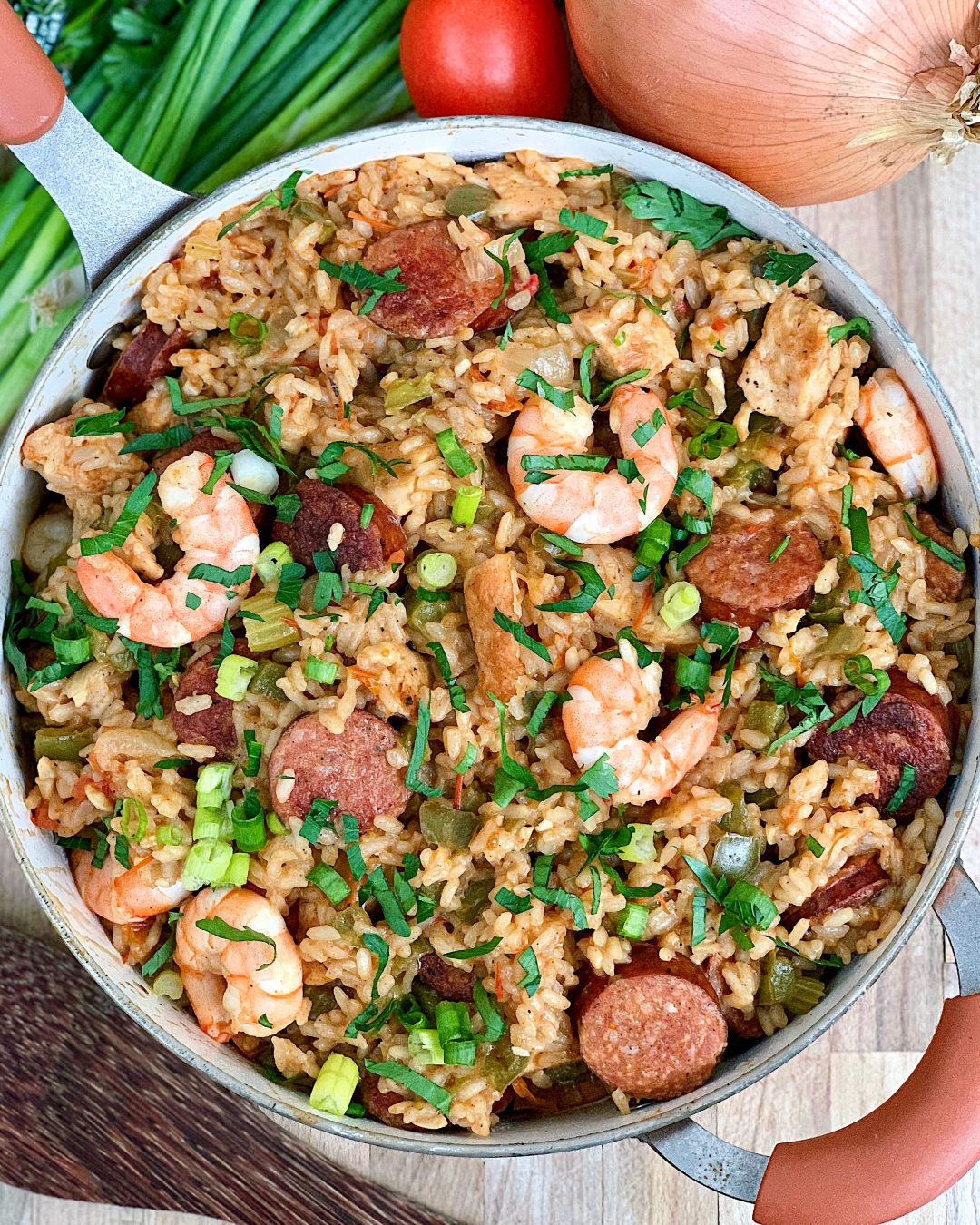 Easy One Pot Jambalaya with Shrimp, Chicken, and Sausage