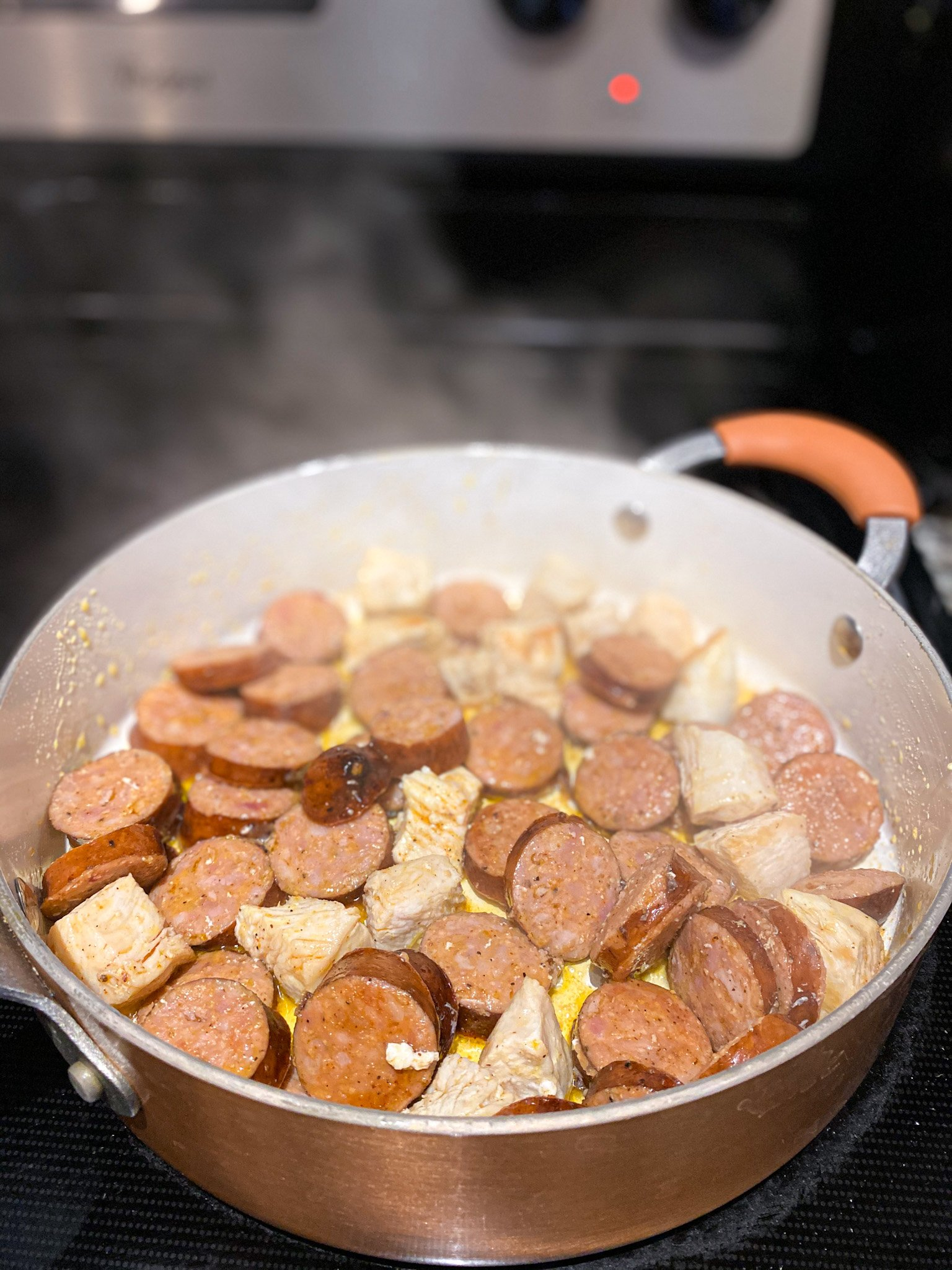 andouille sausage and chicken breast