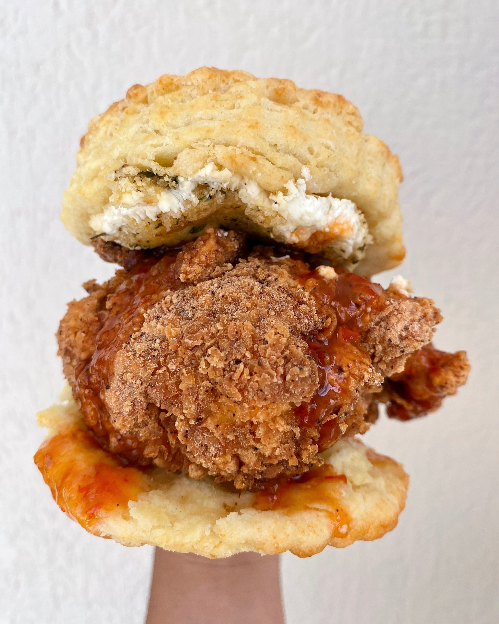 The Squawking Goat fried chicken biscuit at Maple Street Biscuit Company