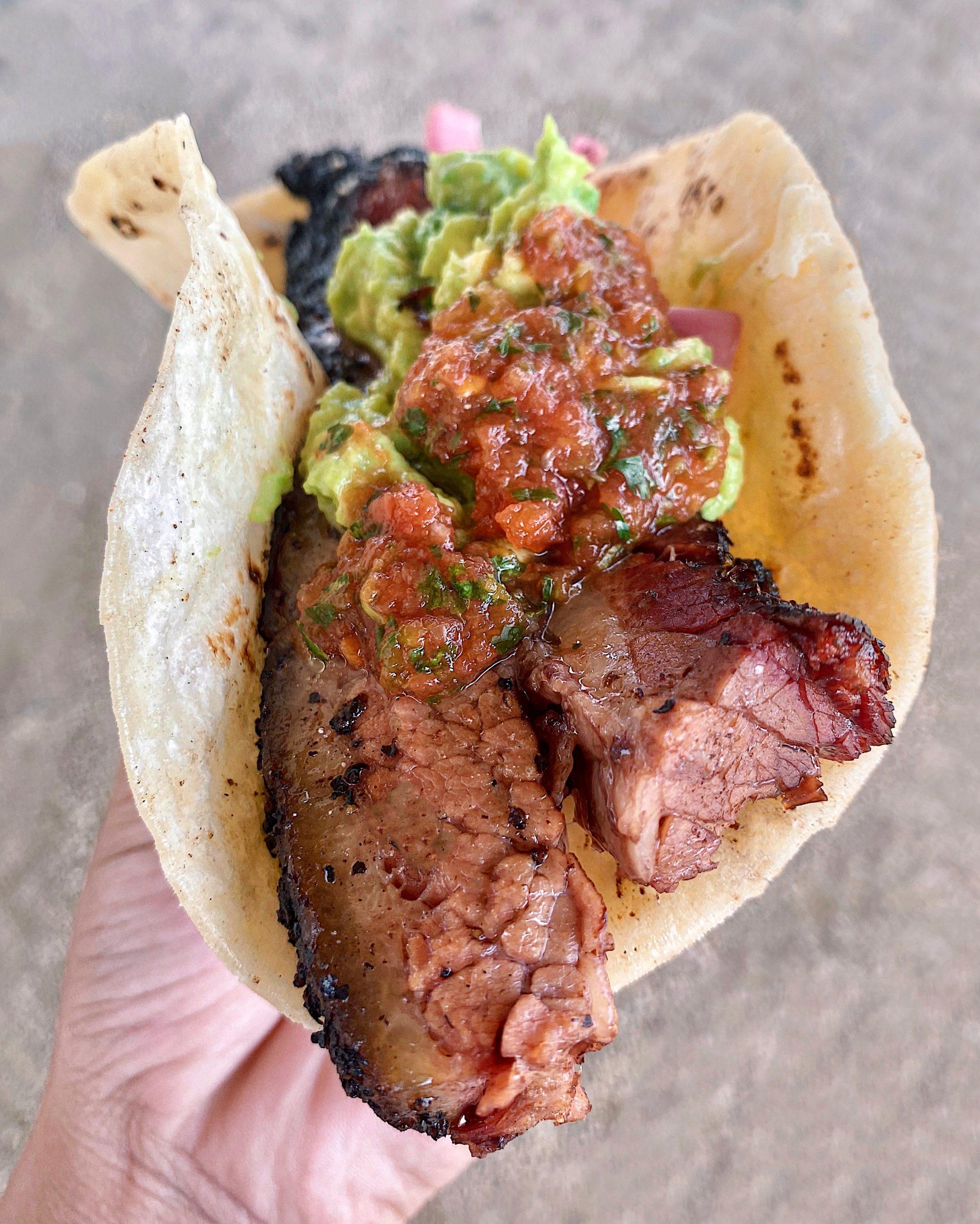 Brisket taco from Valentinas in Austin, TX