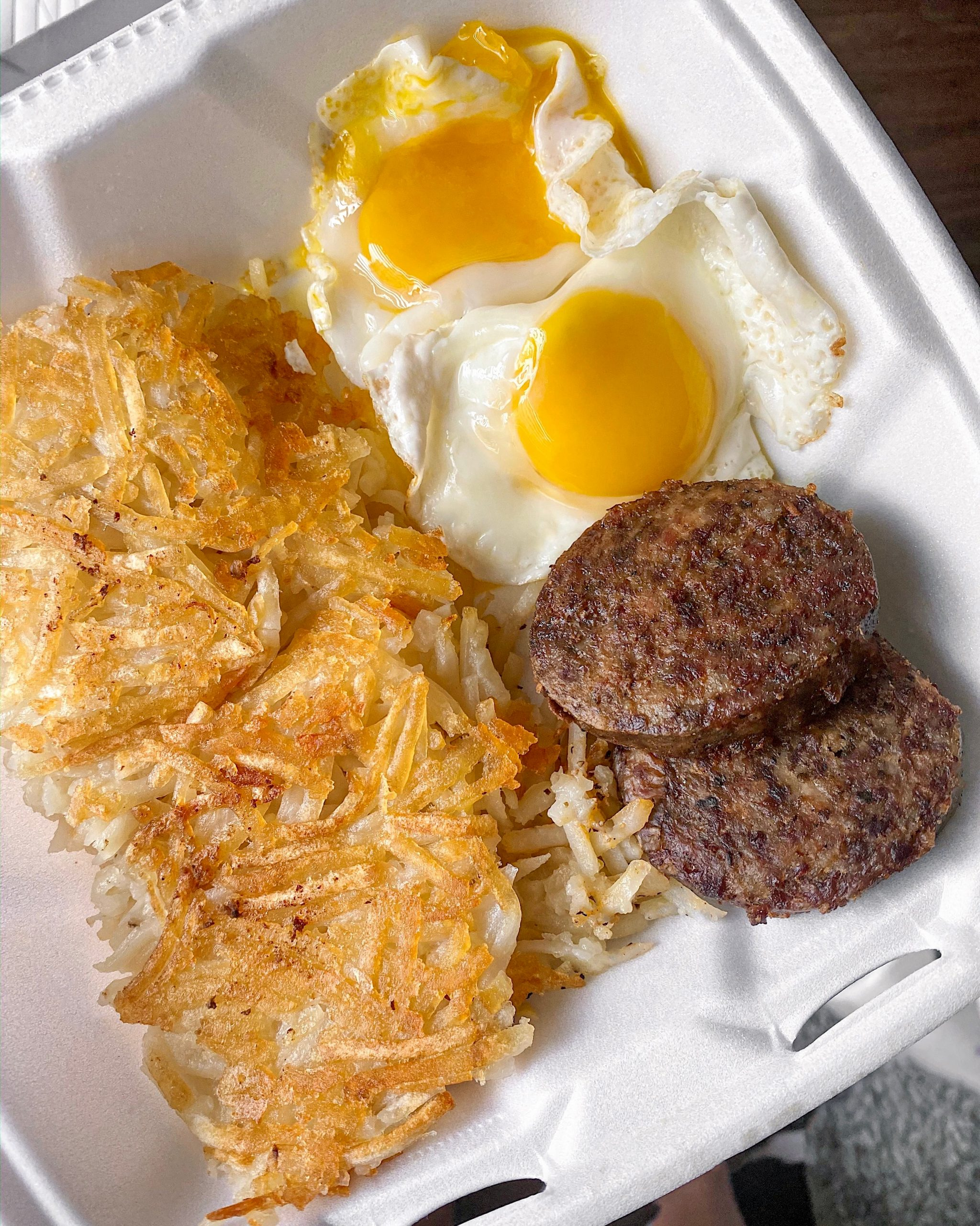 2 eggs, 2 breakfast sausage, double hash browns from Dan's Hamburgers in Austin, TX